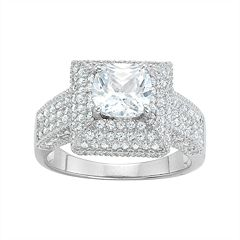 Sterling Silver Cubic Zirconia Gallery Ring