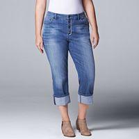 Plus Size Simply Vera Vera Wang Cuffed Capri Jeans