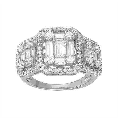 Sterling Silver Cubic Zirconia Triple Window Ring