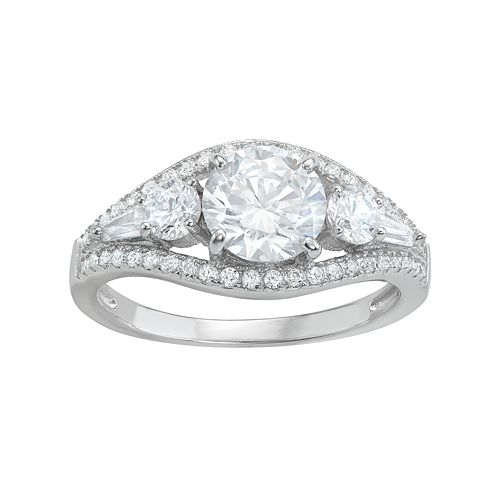 Sterling Silver Cubic Zirconia 5-Stone Ring