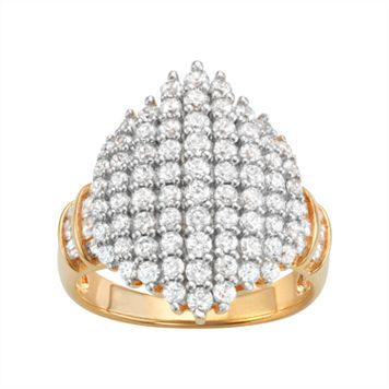 14k Gold Over Silver Cubic Zirconia Cluster Ring