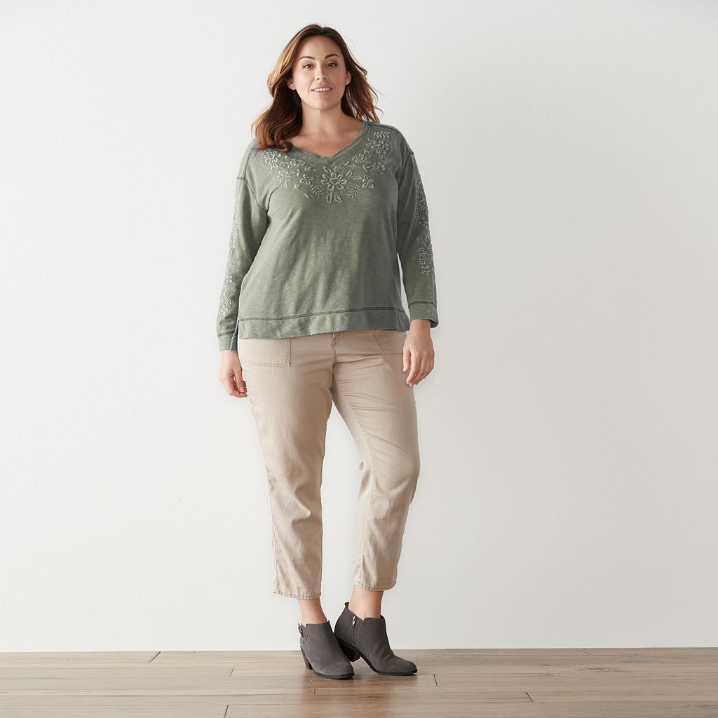 Plus Size SONOMA Goods for Life™ Embroidered French Terry Sweatshirt