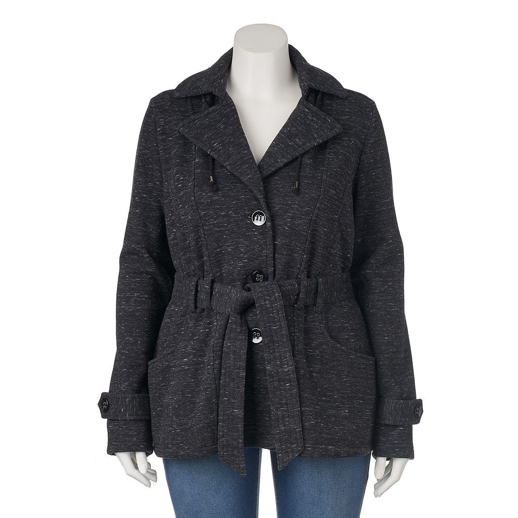 Juniors' Plus Size Sebby Hooded Fleece Trench Coat