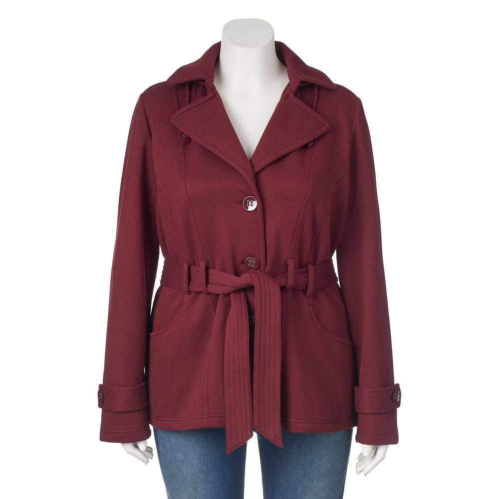 Plus Size Sebby Hooded Fleece Trench Coat