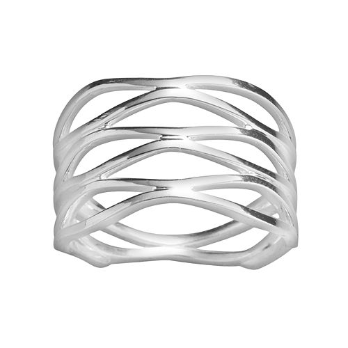 PRIMROSE Sterling Silver Openwork Marquise Ring