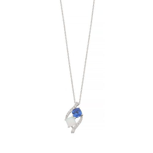 Sterling Silver Lab-Created Opal & Sapphire Pendant Necklace