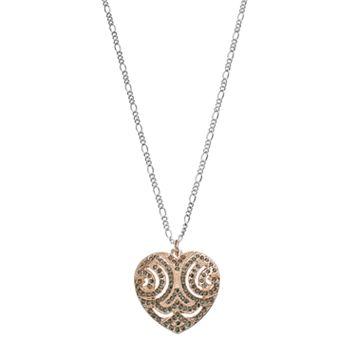 LC Lauren Conrad Long Two Tone Filigree Heart Pendant Necklace