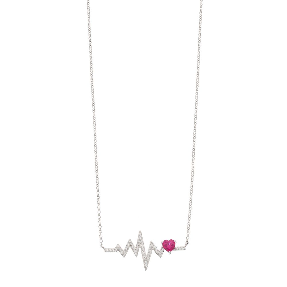 Sterling Silver Lab-Created Ruby & White Sapphire Heartbeat Necklace