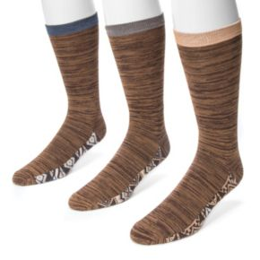 Men's MUK LUKS 3-Pack Patterned Footbed Socks