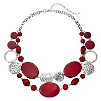 Red Composite Shell & Hammered Disc Swag Necklace