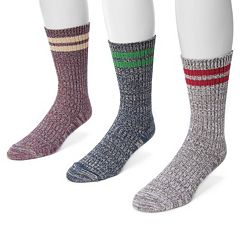 Men's MUK LUKS 3-Pack Striped Marbled Socks