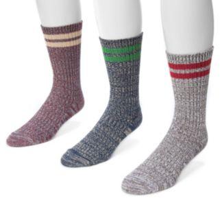Men's MUK LUKS 3-Pack Striped Marbled Socks