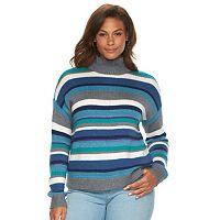 Plus Size Chaps Striped Mockneck Sweater