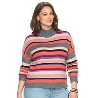 Plus Size Chaps Striped Mockneck Sweater