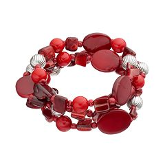 Red Composite Shell Beaded Stretch Bracelet Set