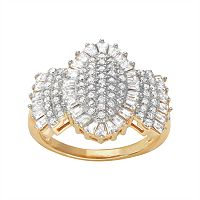 14k Gold Over Silver Cubic Zirconia Baguette Cluster Ring
