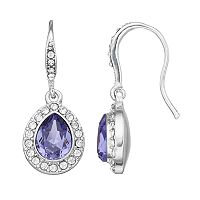 Brilliance Silver Plated Halo Teardrop Earrings with Swarovski Crystals