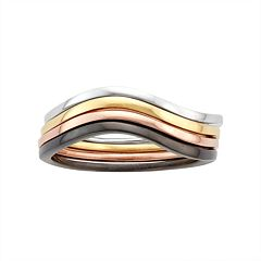Multi Tone Sterling Silver Swirl Stack Ring Set