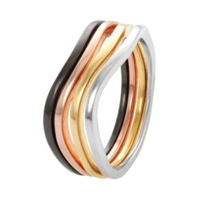 Multi Tone Sterling Silver Swirl Stack Ring Set