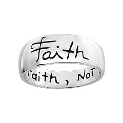 PRIMROSE Sterling Silver 'Live by Faith, Not by Sight' Ring