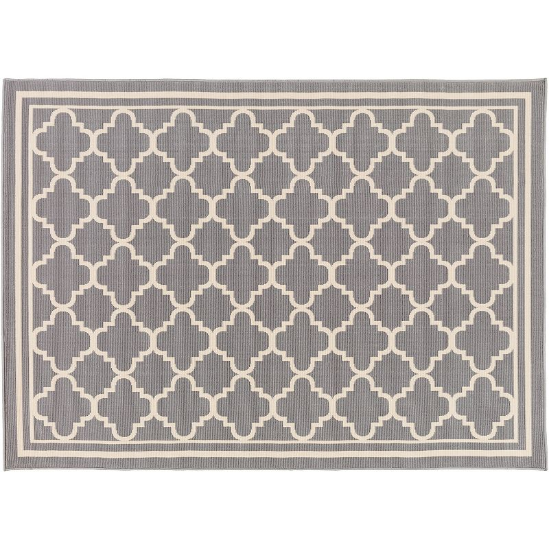 Decor 140 Ianjica Trellis Indoor Outdoor Rug, Grey, 8Ft Rnd