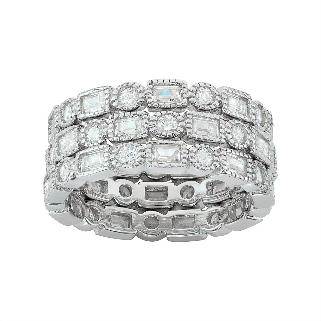 Sterling Silver Cubic Zirconia Stackable Eternity Ring Set