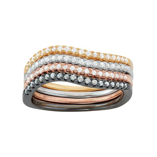 Multi Tone Sterling Silver Cubic Zirconia Swirl Stack Ring Set