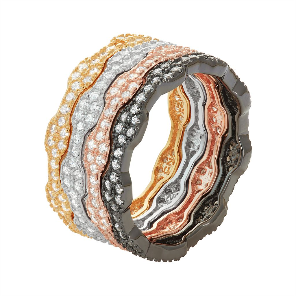Multi Tone Sterling Silver Cubic Zirconia Stack Ring Set