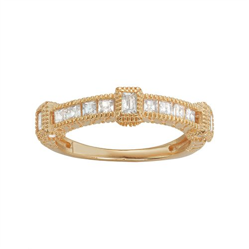 14k Gold Over Silver Cubic Zirconia Ring