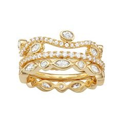 14k Gold Over Silver Cubic Zirconia Stack Ring Set