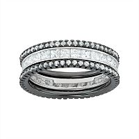 Two Tone Sterling Silver Cubic Zirconia Stackable Eternity Ring Set