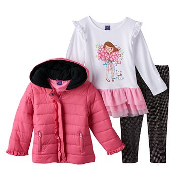 Baby Girl Only Kids Apparel Quilted Jacket, Tutu Tunic Top & Leggings Set
