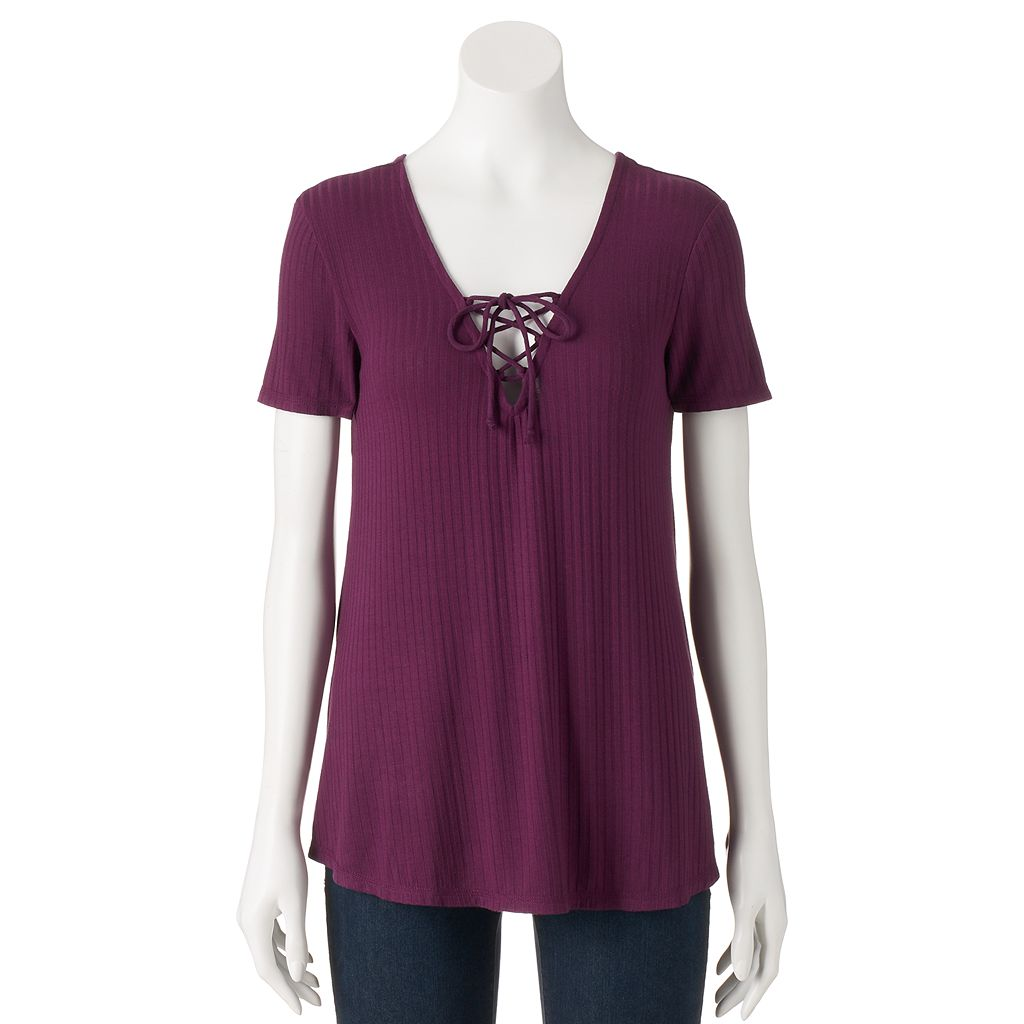 Juniors' Live To Be Spoiled Lace Up Short Sleeve Tee