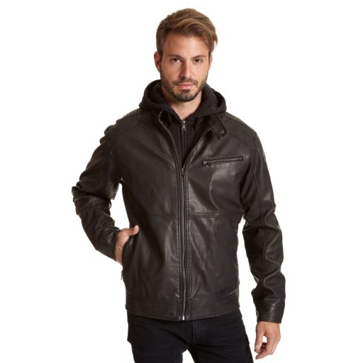 Men's Excelled Faux-Leather Hooded Racer Jacket