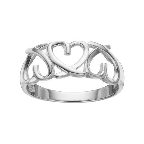 PRIMROSE Sterling Silver Triple Heart Ring