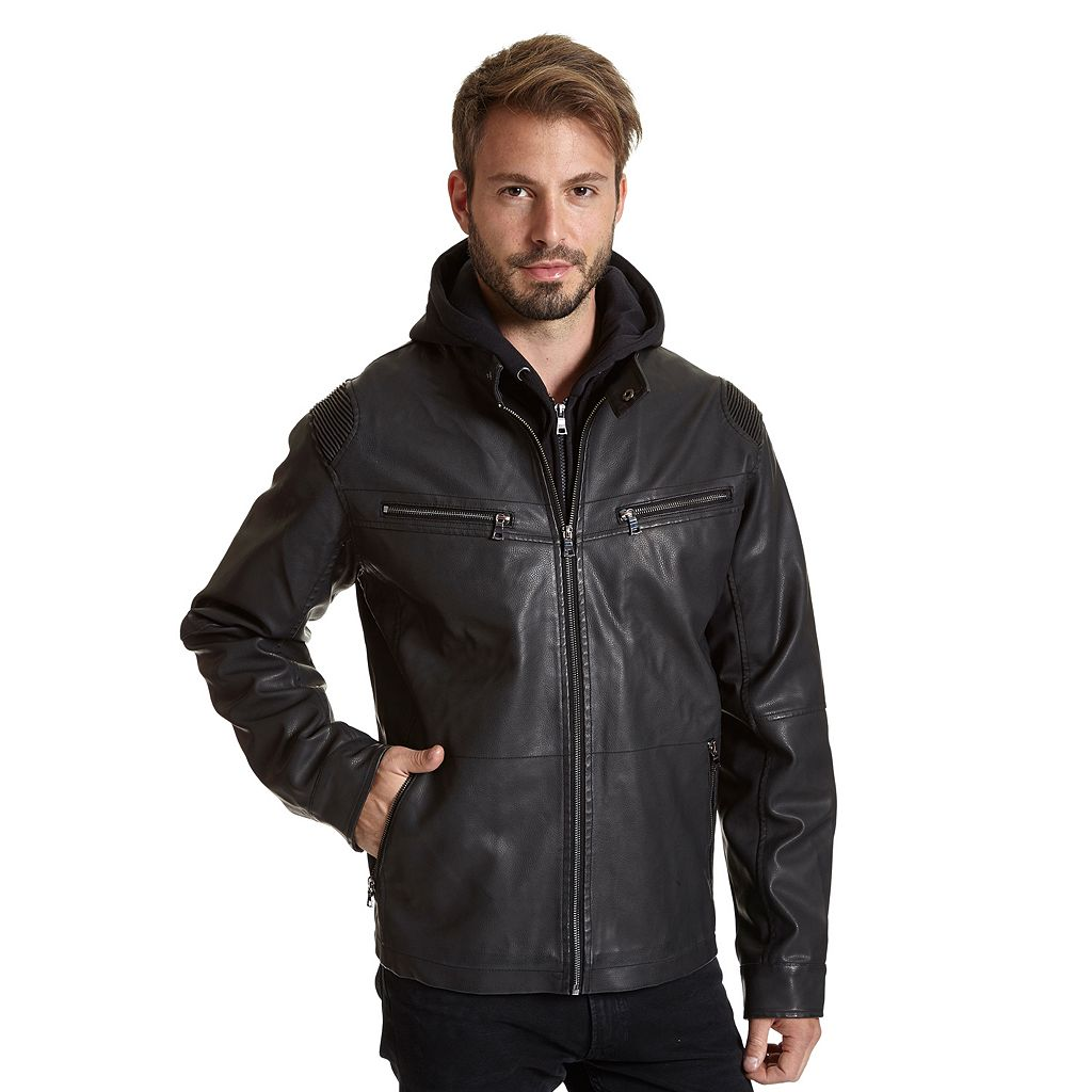 Men's Excelled Faux-Leather Racer Jacket
