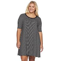 Juniors' Plus Size SO® Elbow Sleeve Striped Swing Dress