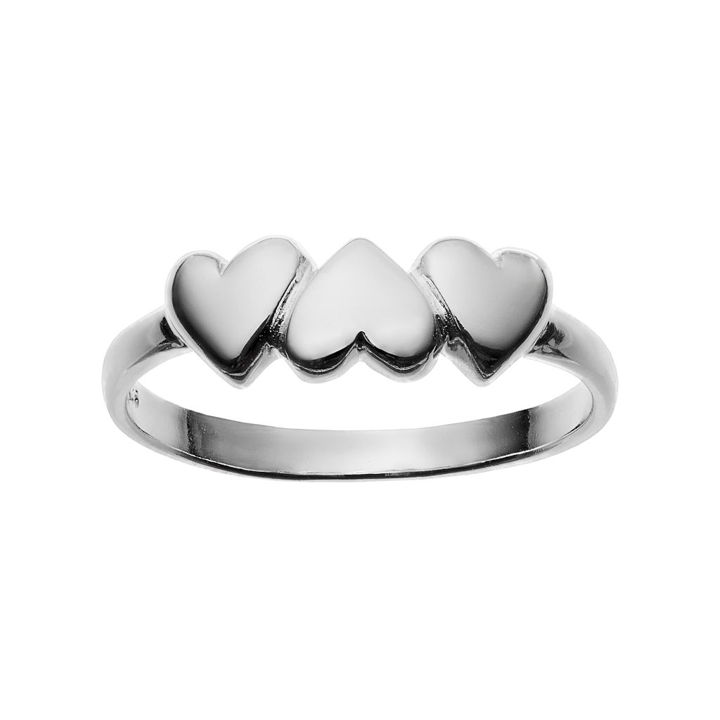 PRIMROSE Sterling Silver Triple Heart Ring