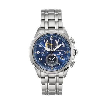 Seiko Men's Prospex Stainless Steel Solar World Time Watch - SSC507