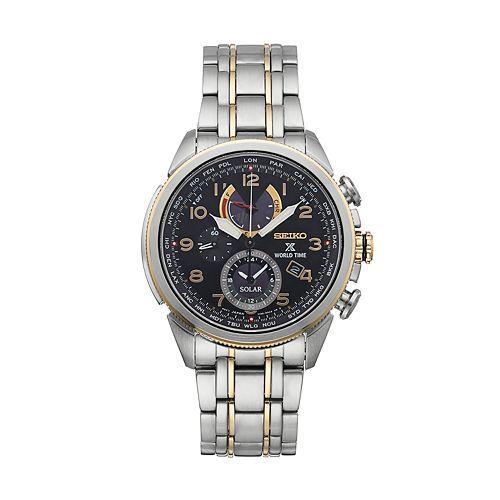Seiko Men's Prospex Two-Tone Stainless Steel Solar World Time Watch - SSC508
