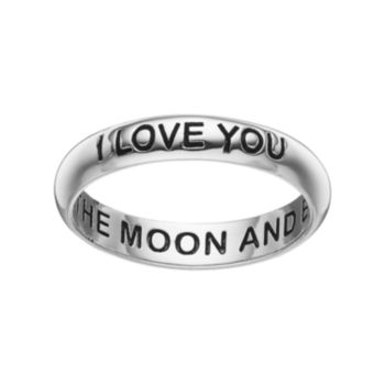 """PRIMROSE Sterling Silver """"I Love You to the Moon & Back"""" Ring"""