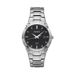 Seiko Men's Core Diamond Stainless Steel Solar Watch - SNE429