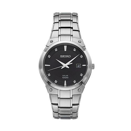 Seiko Men's Core Diamond Stainless Steel Solar Watch - SNE429