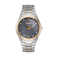 Seiko Men's Core Diamond Stainless Steel Solar Watch - SNE430