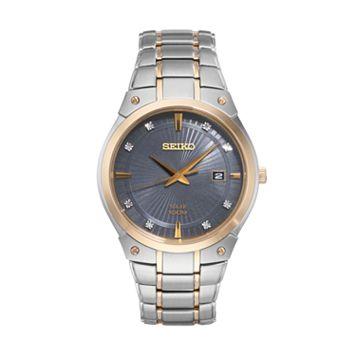 Seiko Men's Core Diamond Stainless Steel Solar Watch - SNE430