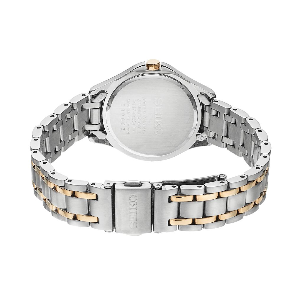 Seiko Women's Core Crystal Two Tone Stainless Steel Solar Watch - SUT312