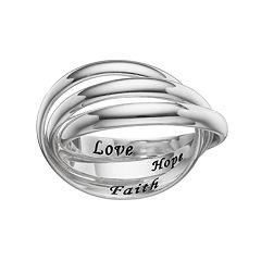 PRIMROSE Sterling Silver 'Faith Hope Love' Interlock Ring