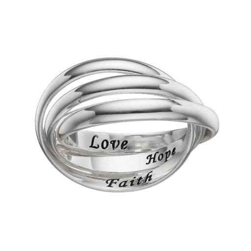 "PRIMROSE Sterling Silver ""Faith Hope Love"" Interlock Ring"