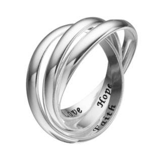 "PRIMROSE Sterling Silver ""Faith Hope Love"" Interlock Ring"