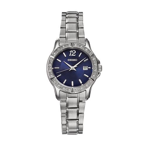 Seiko women 39 s crystal stainless steel watch sur721 for Watches kohls